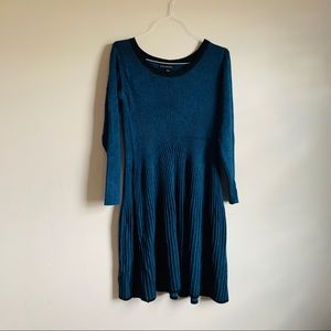 EUC Lane Bryant size 18 fitted sweater dress Blue